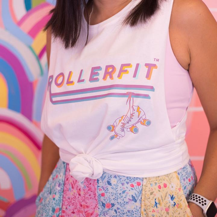 RollerFit Logo Tank - White - Relaxed Fit